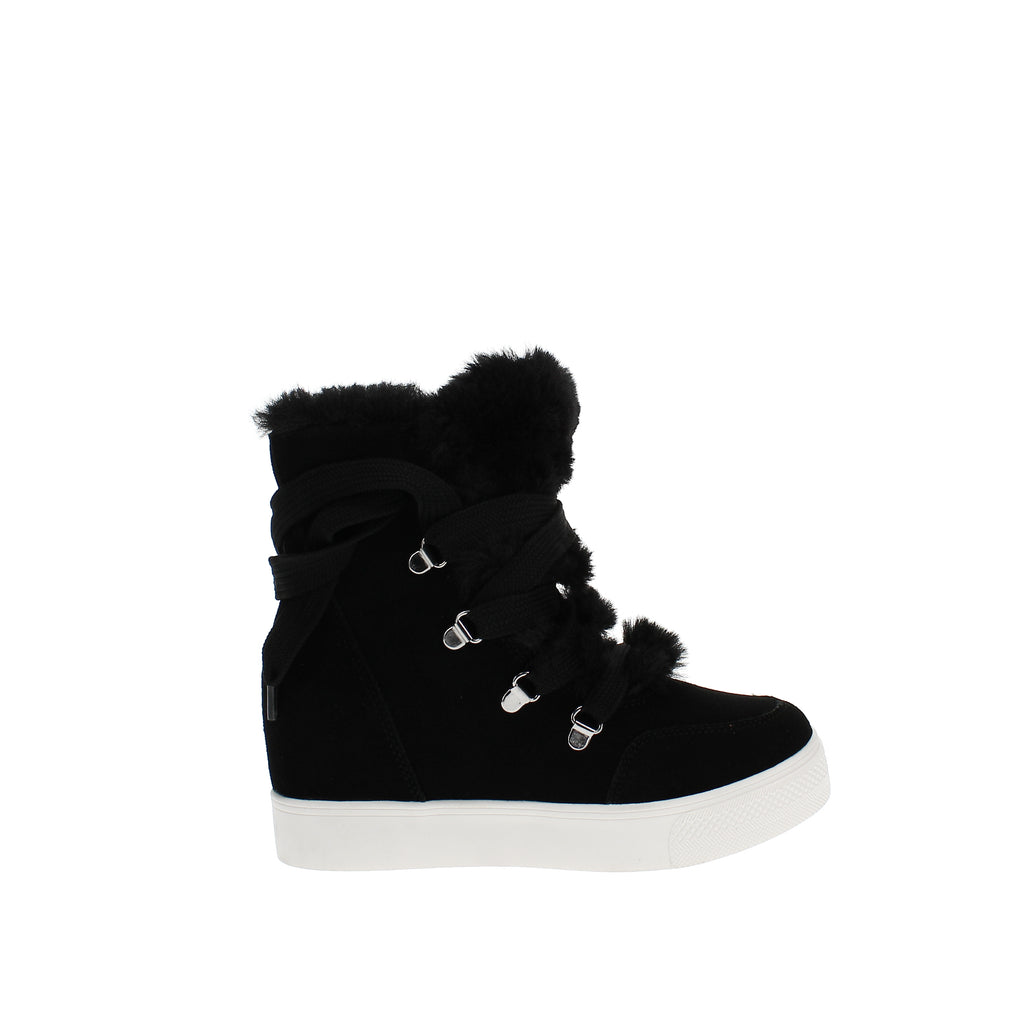 Yieldings Discount Shoes Store's Wharton Faux-Fur Wedge Booties by Steve Madden in Black