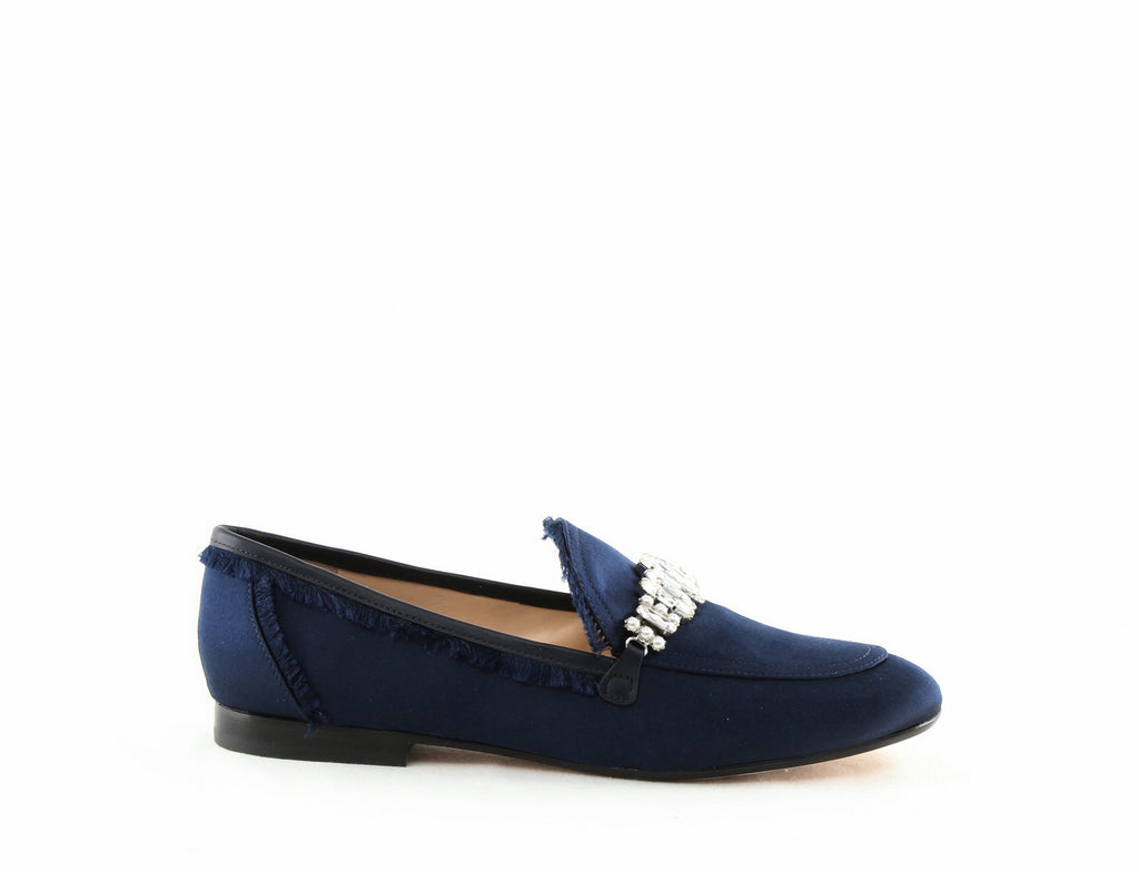 Yieldings Discount Shoes Store's Weven 2 Embellished Satin Loafers by Ivanka Trump in Dark Blue Satin