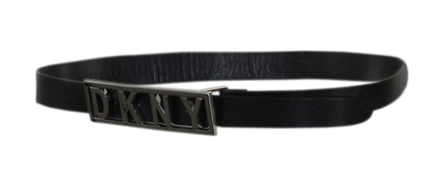 Yieldings Discount Accessories Store's Logo Plaque Buckle Belt by DKNY in Black