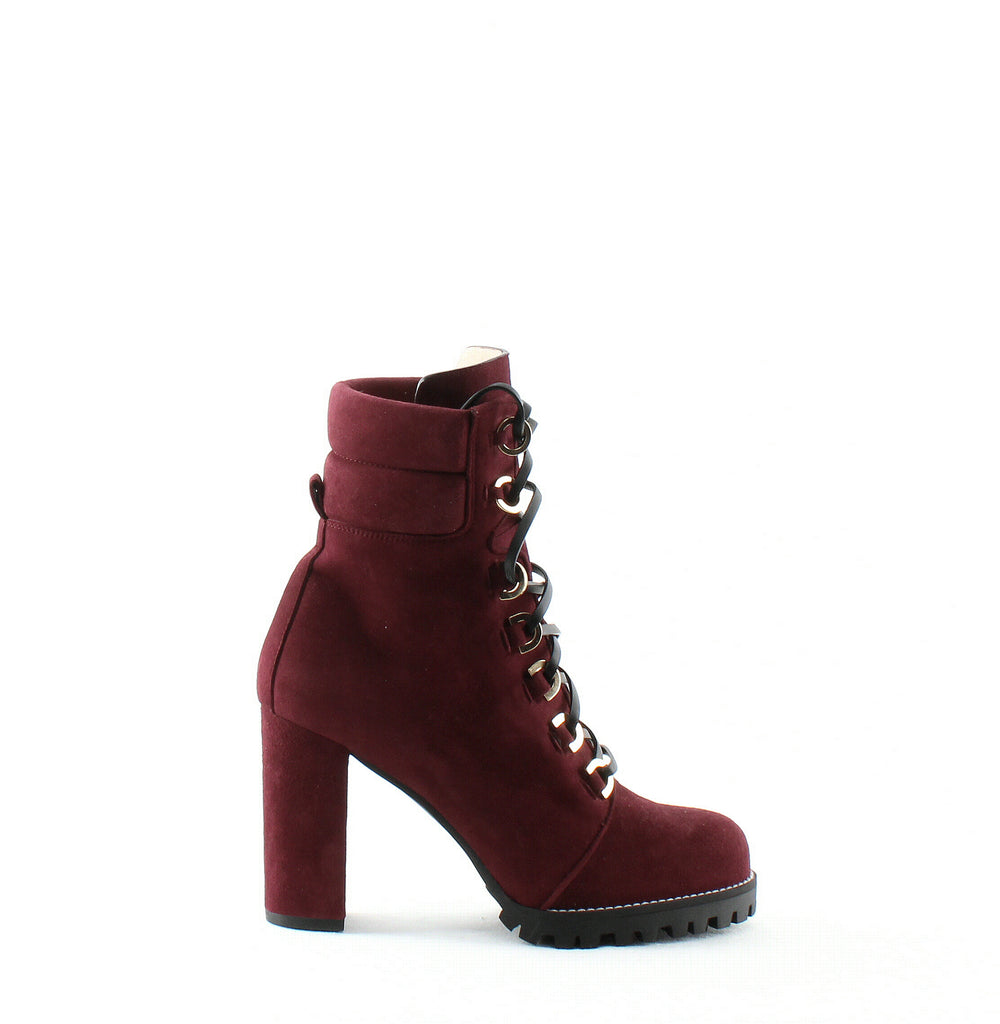 Yieldings Discount Shoes Store's Shackleton Round Toe Suede Boots by Stuart Weitzman in Cabernet Suede