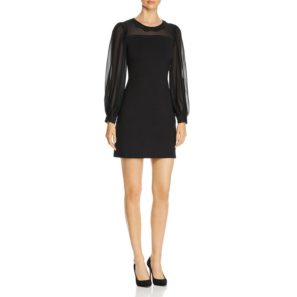 Yieldings Discount Clothing Store's Cherie Mesh Embroidered Sheath Dress by Le Gali in Black