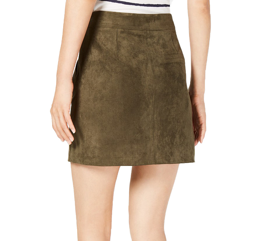 Yieldings Discount Clothing Store's Faux-Suede Lace-Up Skirt by Sage in Green