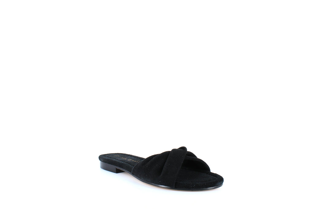 Yieldings Discount Shoes Store's Score Twisted Suede Slide Sandals by Bettye Muller in Black
