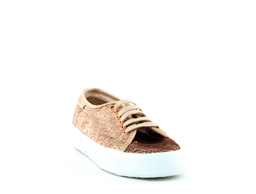 Yieldings Discount Shoes Store's 2750 Paireflexmatt Sequin Sneakers by Superga in Rose Gold