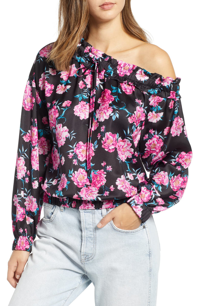Yieldings Discount Clothing Store's Floral Print Top by Kendall + Kylie in Magenta Print