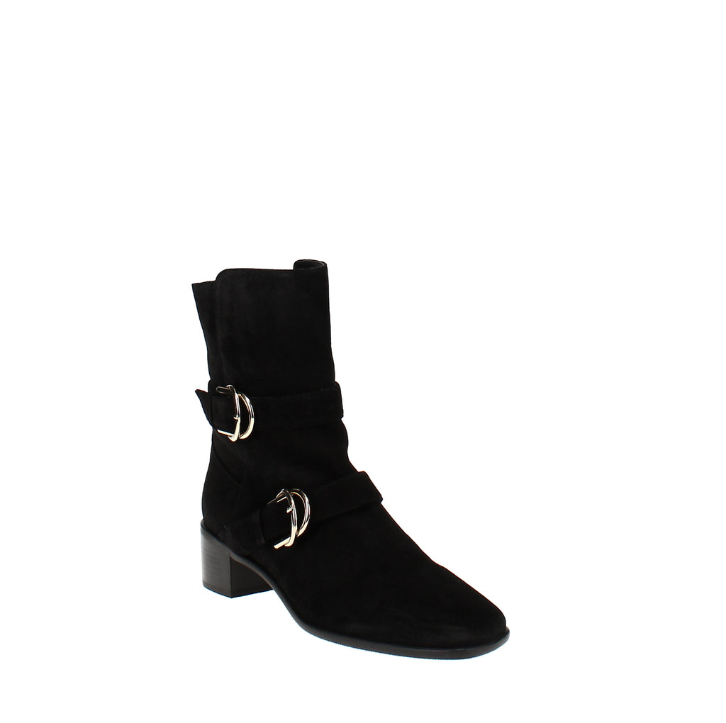 Yieldings Discount Shoes Store's Britain Square Toe Buckle Bootie by Stuart Weitzman in Black