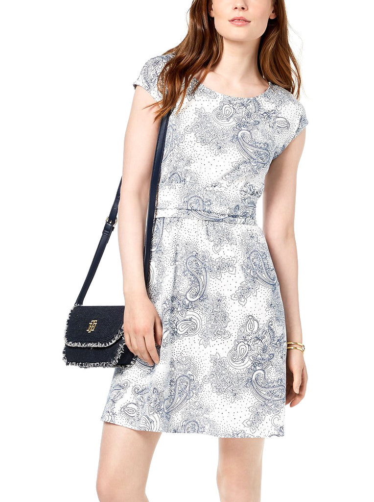 Yieldings Discount Clothing Store's Paisley-Print Cap-Sleeve Dress by Tommy Hilfiger in Ivory