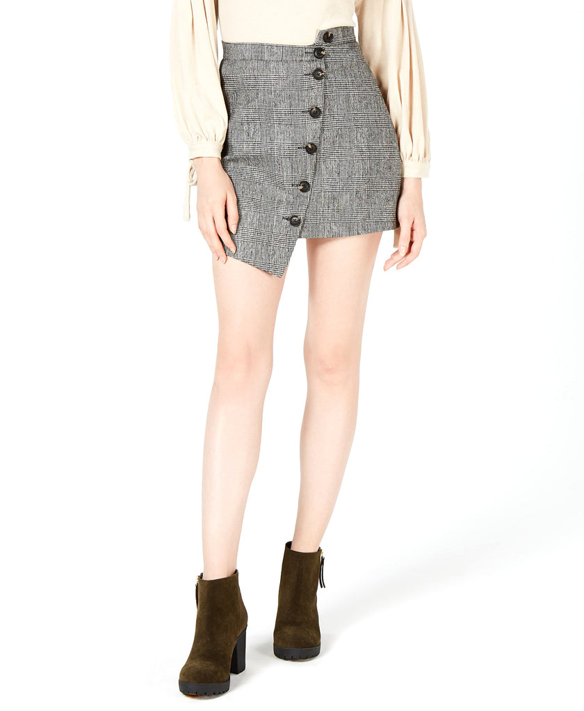Yieldings Discount Clothing Store's Button-Front Asymmetrical Skirt by Sage the Label in Grey Plaid