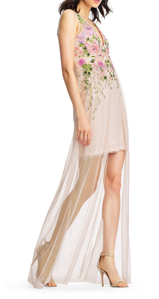 Yieldings Discount Clothing Store's Floral Embroidered Gown Dress by Aidan Mattox in Pink Blush