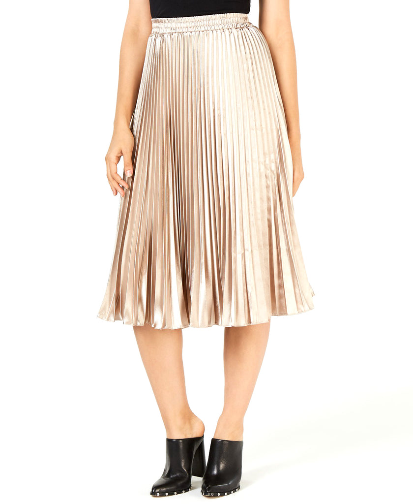 Yieldings Discount Clothing Store's Noelle Pleated MIDI Skirt by Lucy Paris in Taupe