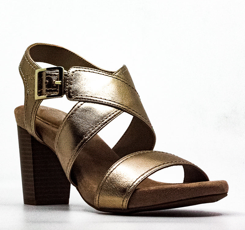 Yieldings Discount Shoes Store's Janett Block Heel Sandals by Giani Bernini in Gold