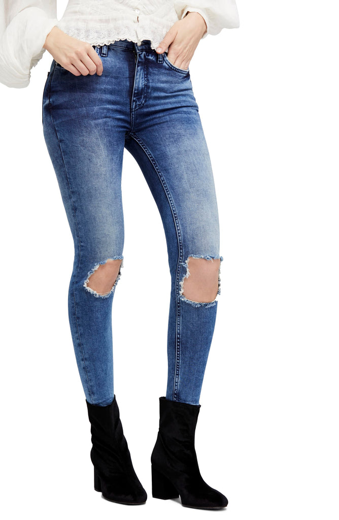 Yieldings Discount Clothing Store's Cotton Ripped Medium Wash Denim Jeans by Free People in Turquoise