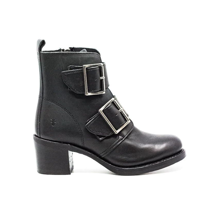 Yieldings Discount Shoes Store's Sabrina Double Buckle Boots by Frye in Black