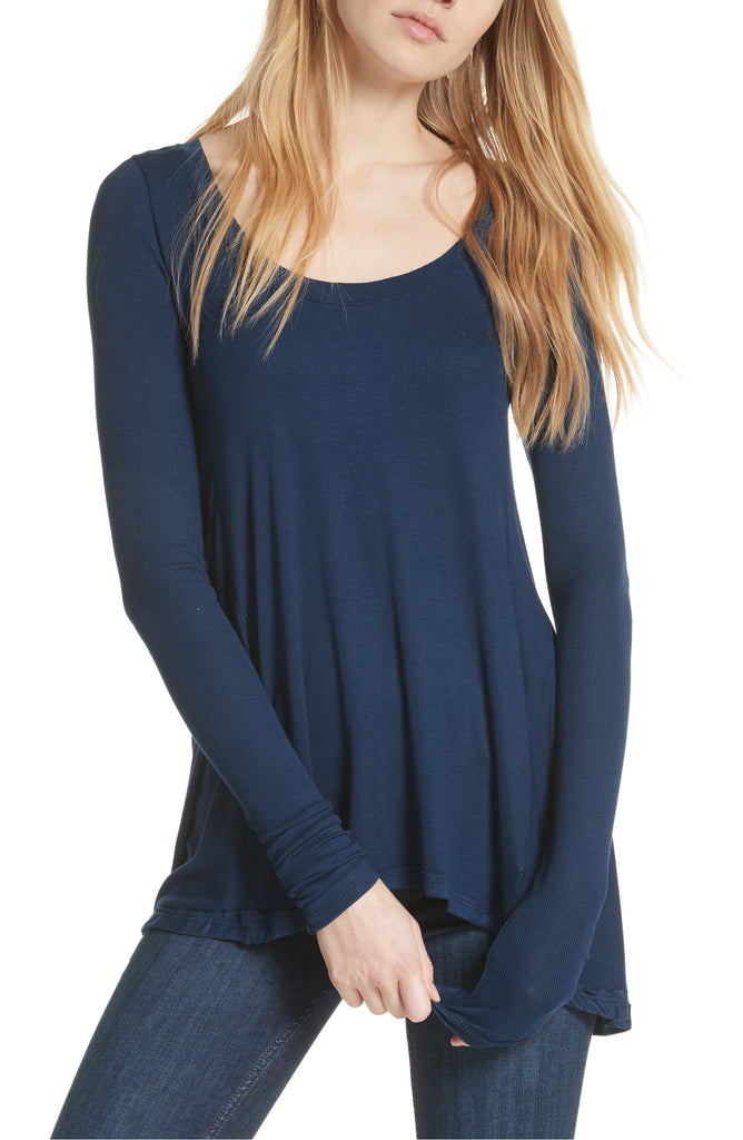 Yieldings Discount Clothing Store's January Ribbed Scoop-Neck T-Shirt by Free People in Navy