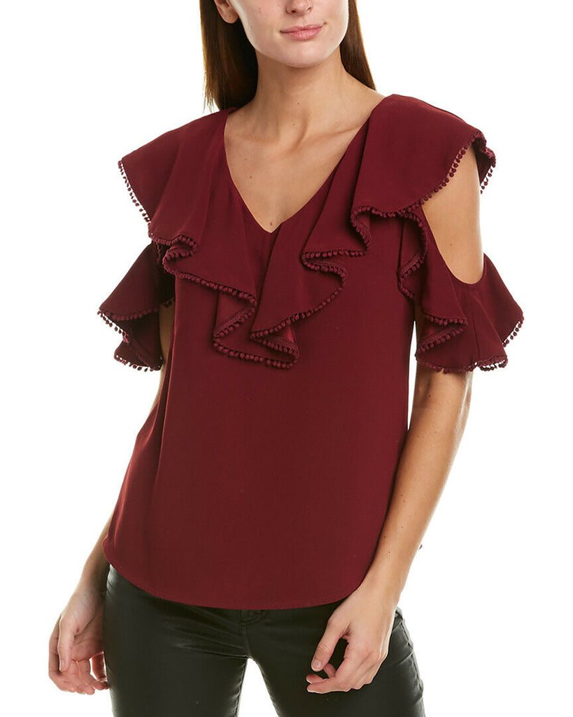 Yieldings Discount Clothing Store's Cold-Shoulder Top by Trina Turk in Red