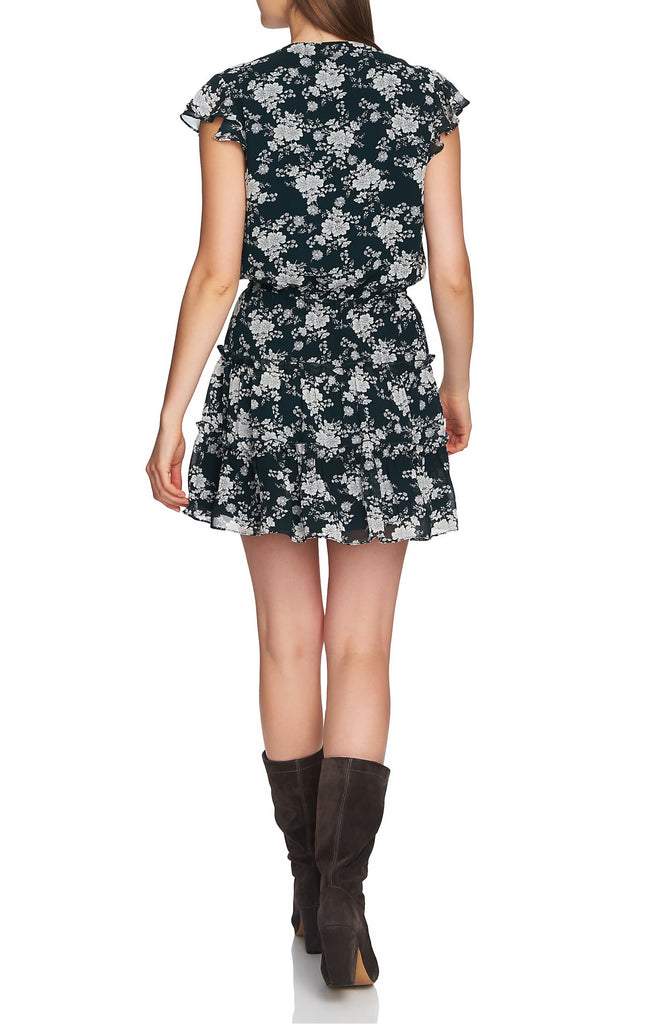 Yieldings Discount Clothing Store's Floral Print Tiered Ruffle Dress by 1.State in Cypress Pine