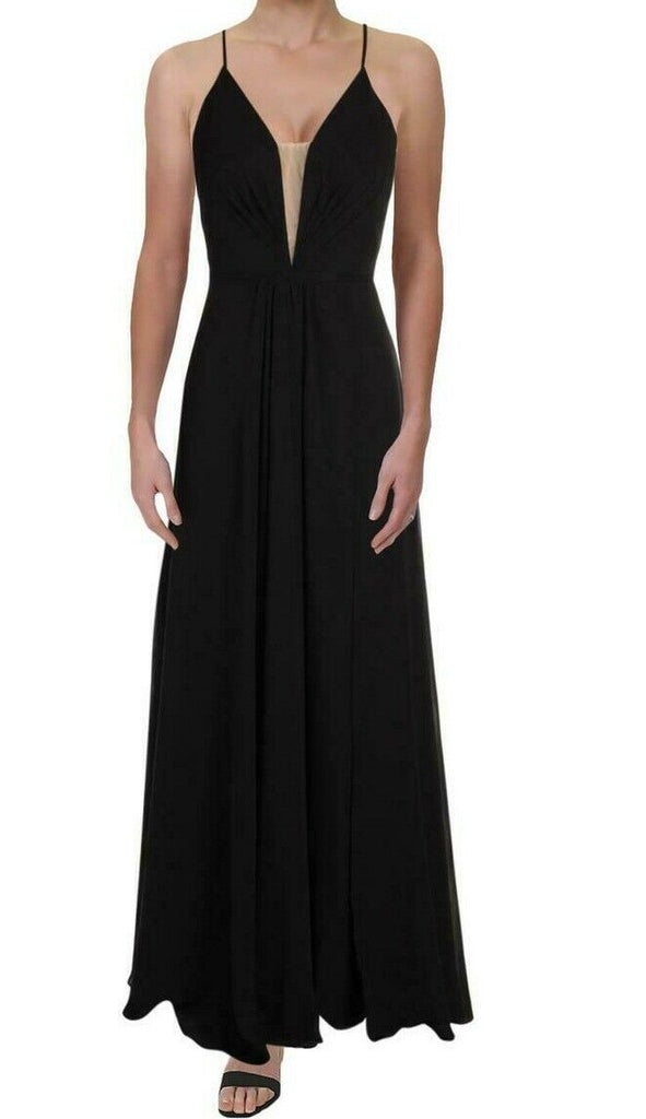 Yieldings Discount Clothing Store's Lace-Up Back Chiffon Gown by Betsy & Adam in Black