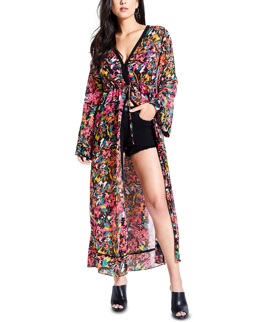 Yieldings Discount Clothing Store's Melia Printed Long Kimono by Guess in Lucid Jungle Black Print