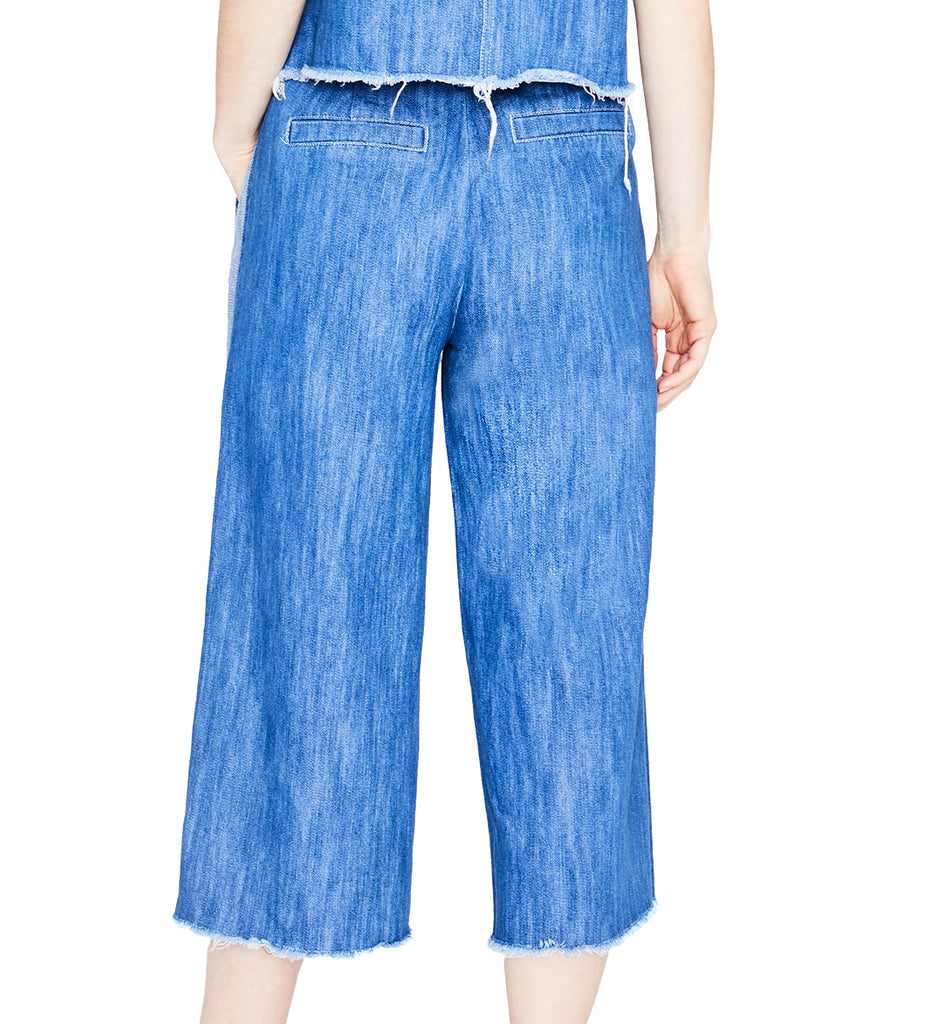 Yieldings Discount Clothing Store's April Cotton Cropped Wide-Leg Jeans by RACHEL Rachel Roy in Medium Wash