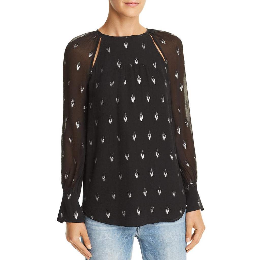 Yieldings Discount Clothing Store's Mosi Print Blouse by Joie in Caviar