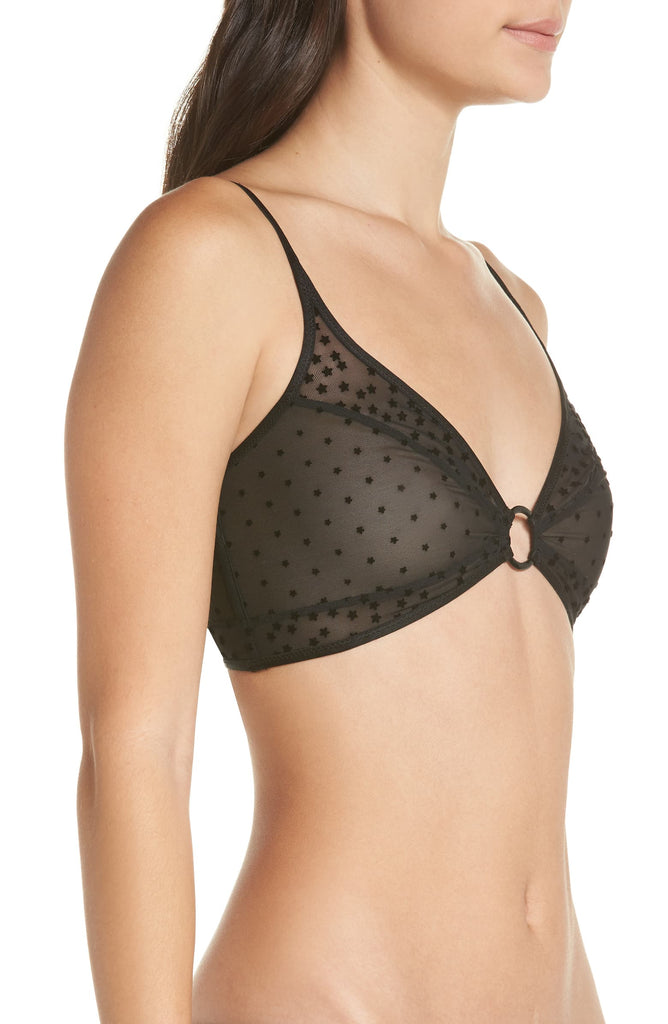 Yieldings Discount Clothing Store's Mesh Star-Print Bralette by Intimately By Free People in Black