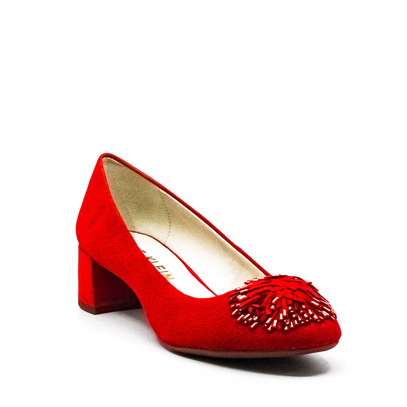 Yieldings Discount Shoes Store's Suede Block Heels by Anne Klein in Red