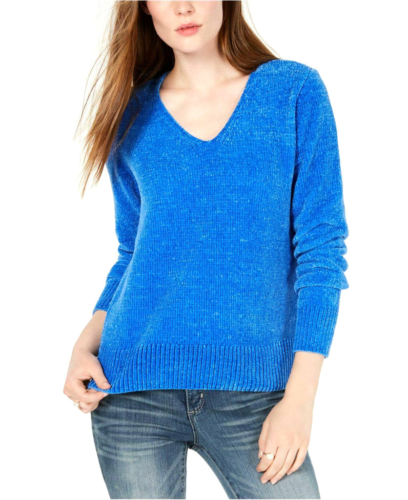 Yieldings Discount Clothing Store's V-Neck Chenille Sweater by Maison Jules in Cornflower Petal