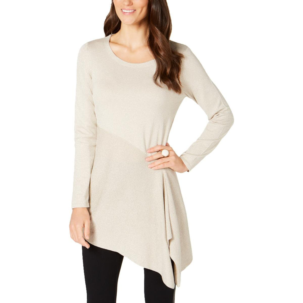 Yieldings Discount Clothing Store's Metallic Asymmetrical Sweater by Alfani in Beige Lurex