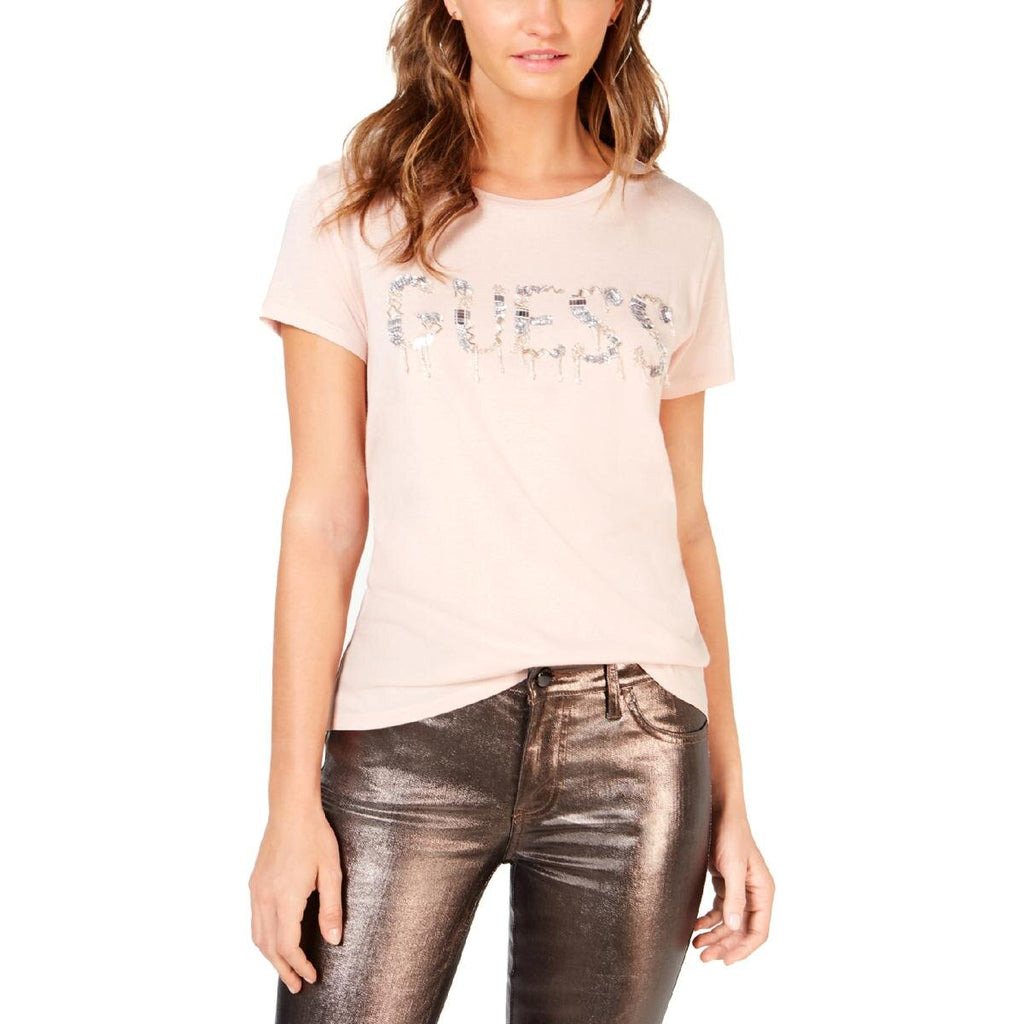 Yieldings Discount Clothing Store's Beaded-Logo T-Shirt by Guess in Vapor Rose