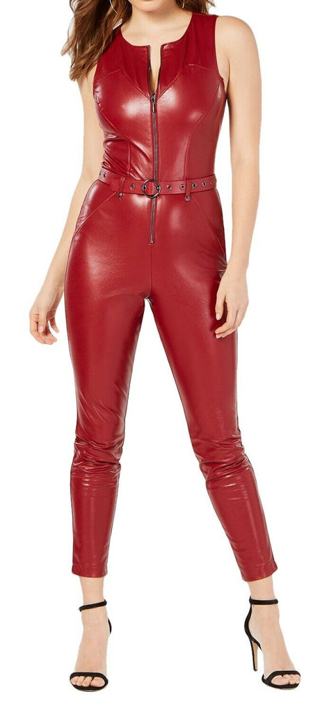Guess | Sandra Belted Faux-Leather Jumpsuit