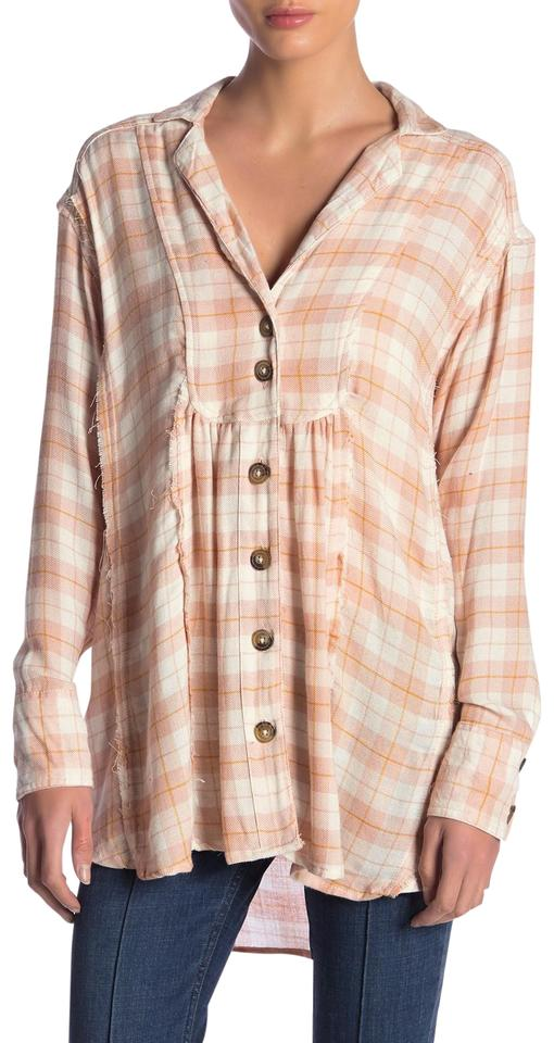 Yieldings Discount Clothing Store's All About The Feels Plaid Button Up Shirt by Free People in Rose Combo