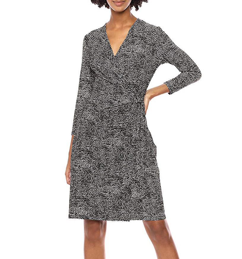 Yieldings Discount Clothing Store's Long Sleeve Print Classic Wrap Dress by Anne Klein in Anne Black