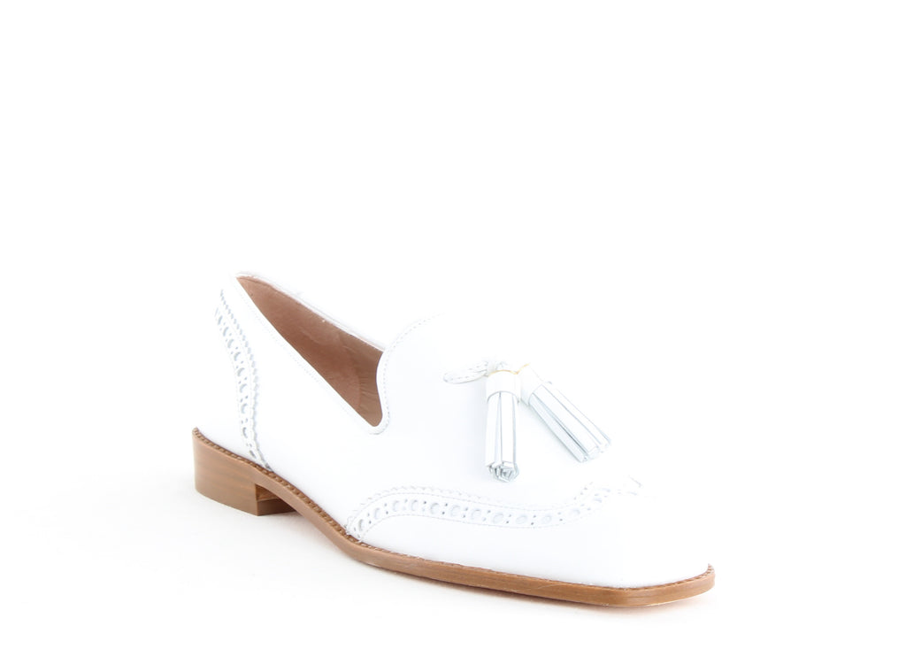 Yieldings Discount Shoes Store's Boything Tassle Loafers by Stuart Weitzman in White Calf