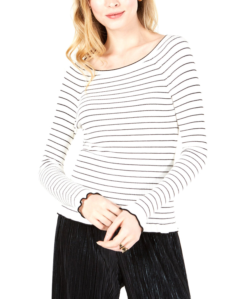 Yieldings Discount Clothing Store's Striped Off-the-Shoulder Sweater by Maison Jules in Cloud Combo
