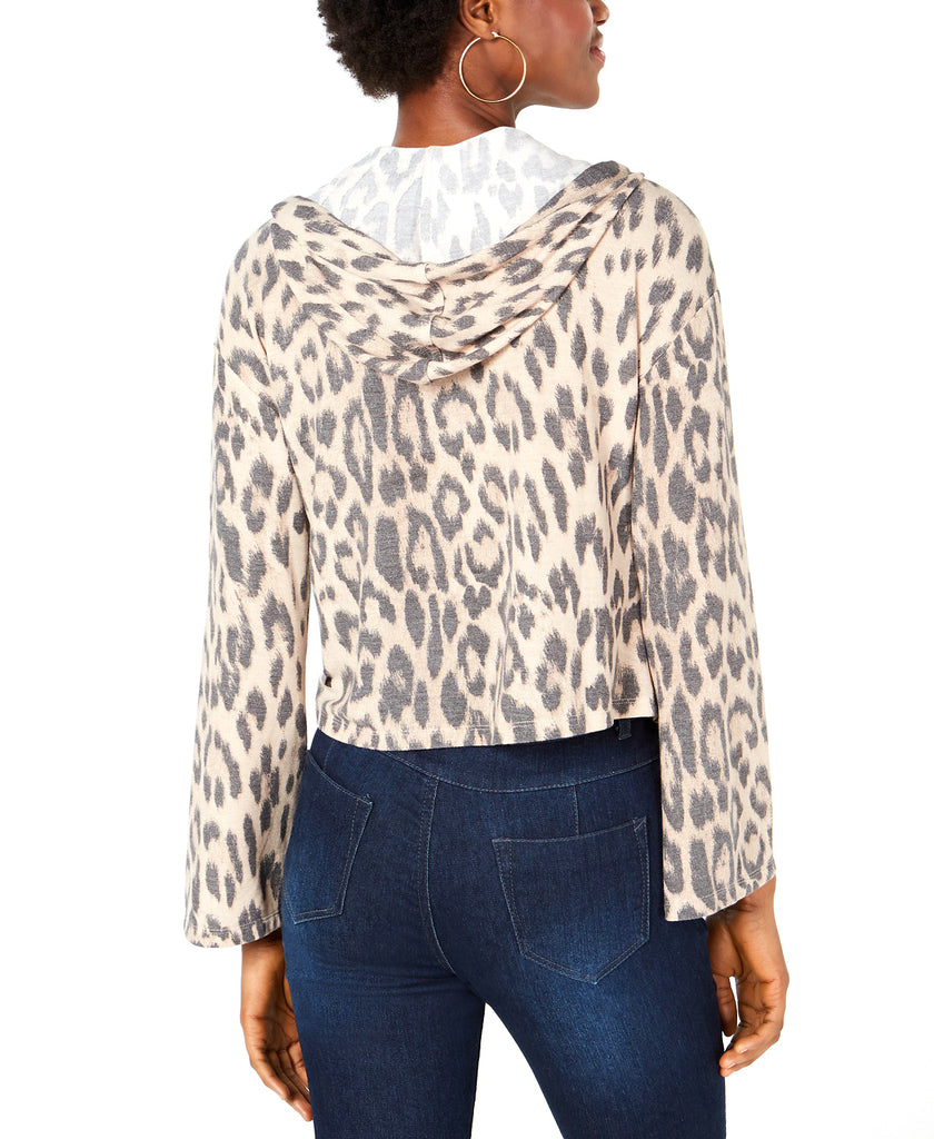 Yieldings Discount Clothing Store's Leopard-Print Cropped Hoodie by Bar III in Natural Leopard