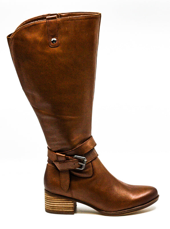Yieldings Discount Shoes Store's Dev Wide Calf Heel Boots by Naturalizer in Tan