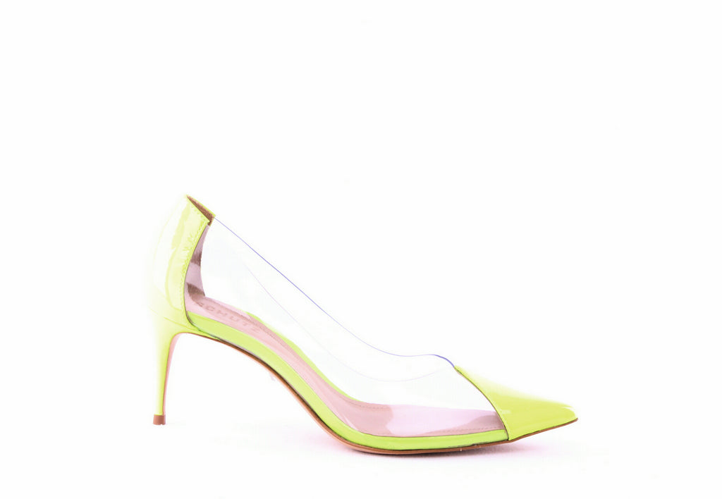Yieldings Discount Shoes Store's Garthy Transparent Pumps by Schutz in Transparent/Neon Yellow