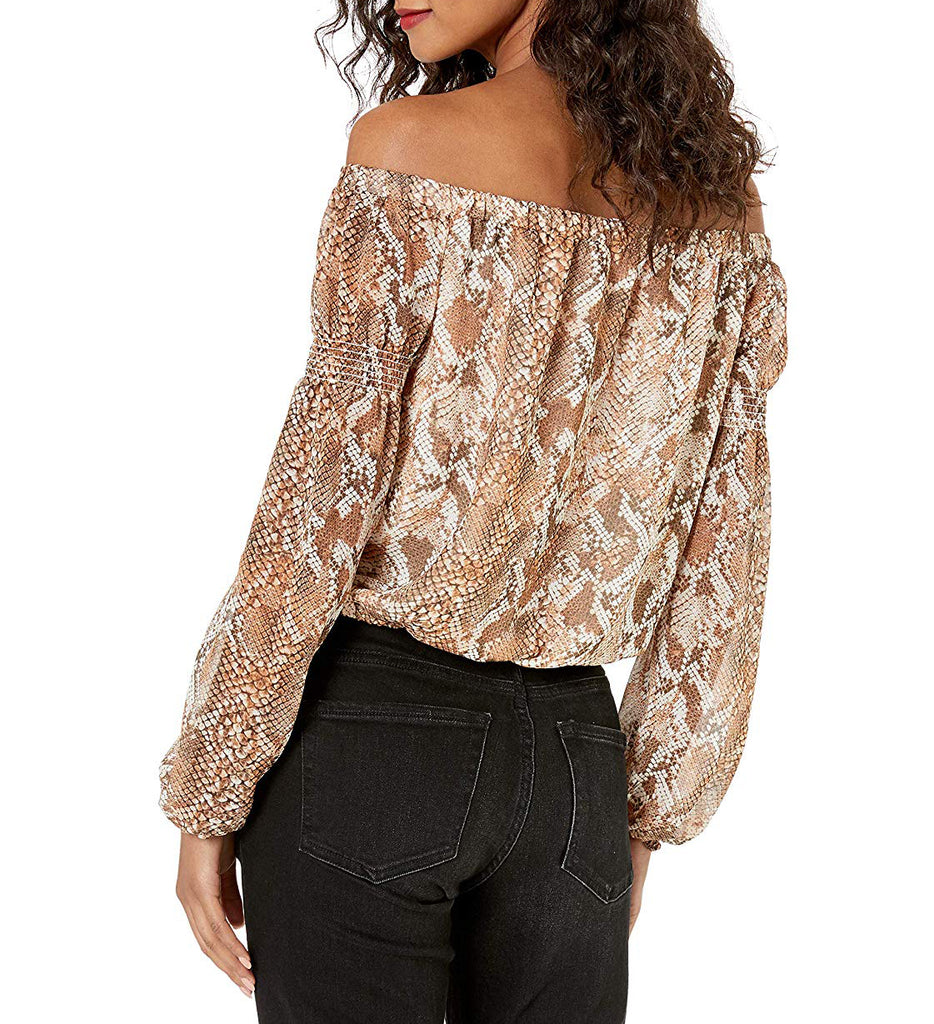 Yieldings Discount Clothing Store's Off Shoulder Meadow Top Wild Snake Print by Guess in Carmel
