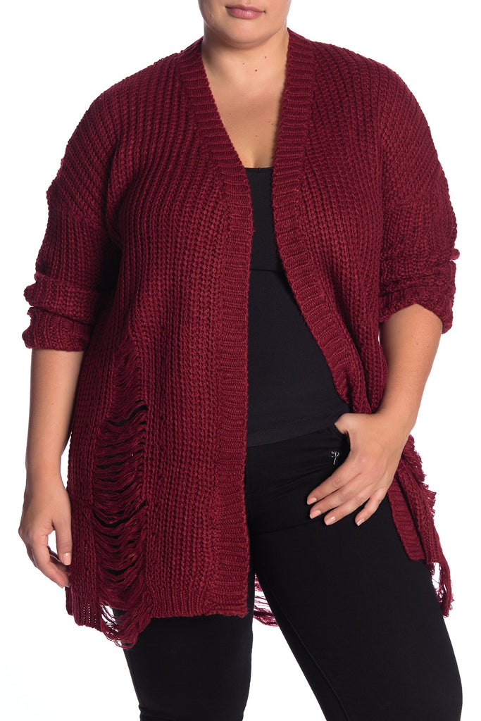 Yieldings Discount Clothing Store's Distressed Knit Cardigan by Planet Gold in Biking Red