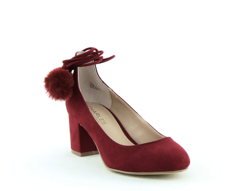 Yieldings Discount Shoes Store's Libby Pom Pom Pumps by Charles By Charles David in Cabernet