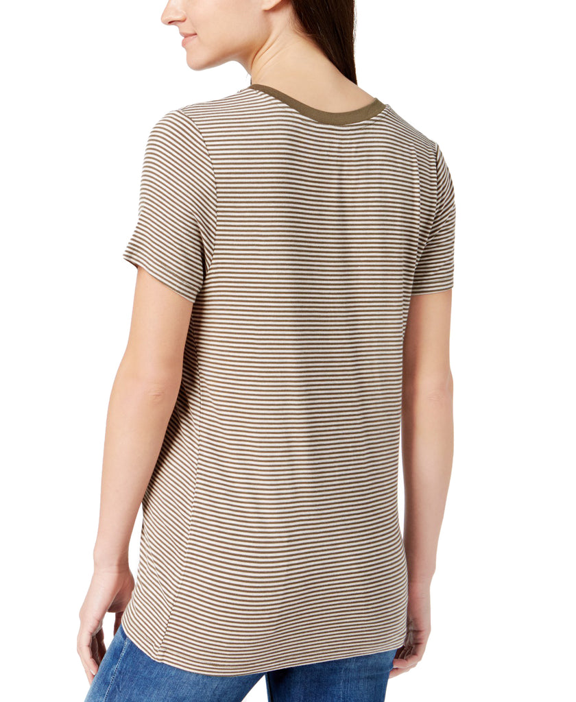 Yieldings Discount Clothing Store's Arrow Stripe T-Shirt by Carbon Copy in Olive Oatmeal