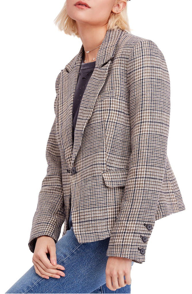 Yieldings Discount Clothing Store's Chess Linen Blazer by Free People in Plaid