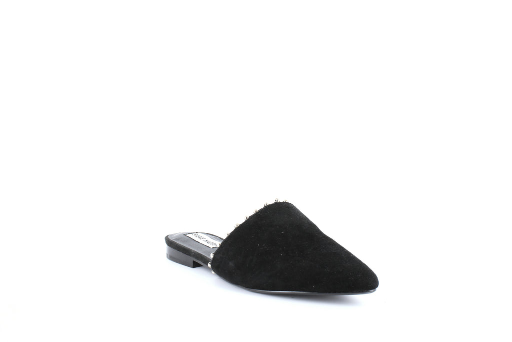 Yieldings Discount Shoes Store's Trace-B Flat Mules by Steve Madden in Black Suede