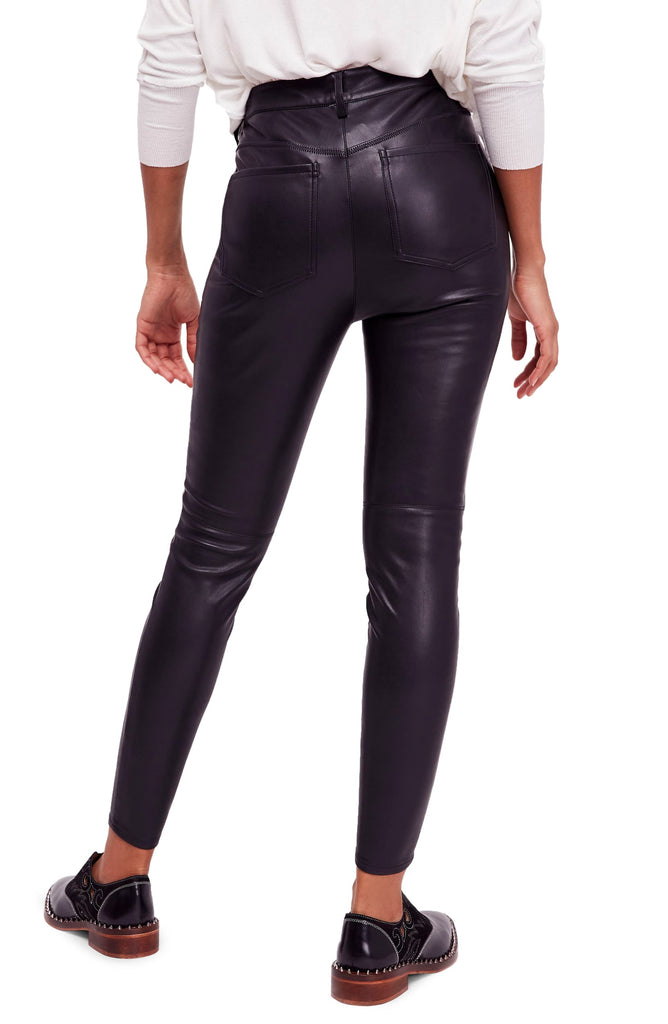 Yieldings Discount Clothing Store's Faux Leather High Skinny Pants by Free People in Black