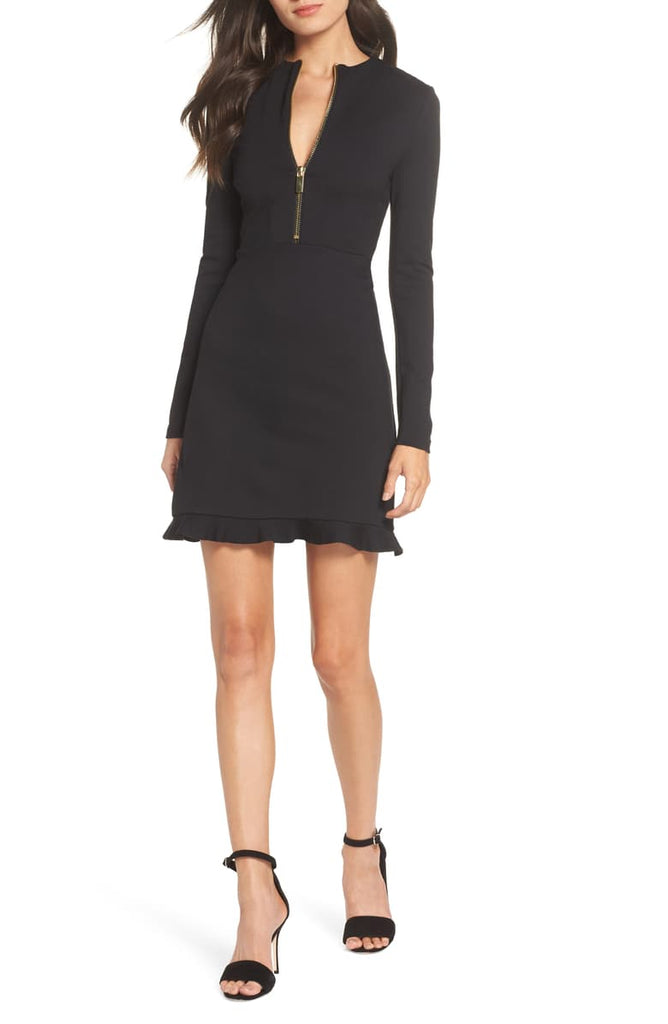 Yieldings Discount Clothing Store's Lula Stretch Dress by French Connection in Black/Gold