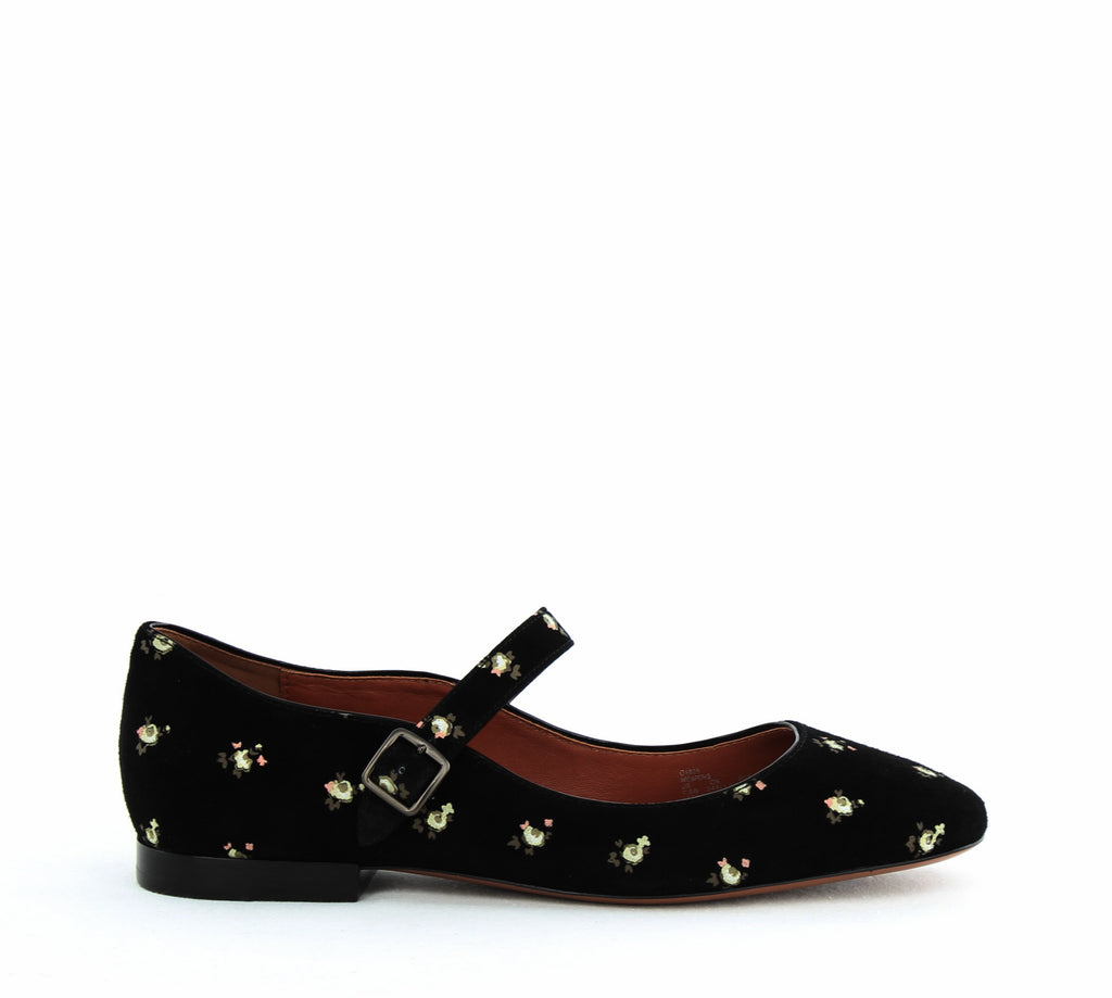 Yieldings Discount Shoes Store's MaryJane Printed Suede Flats by Coach in Black