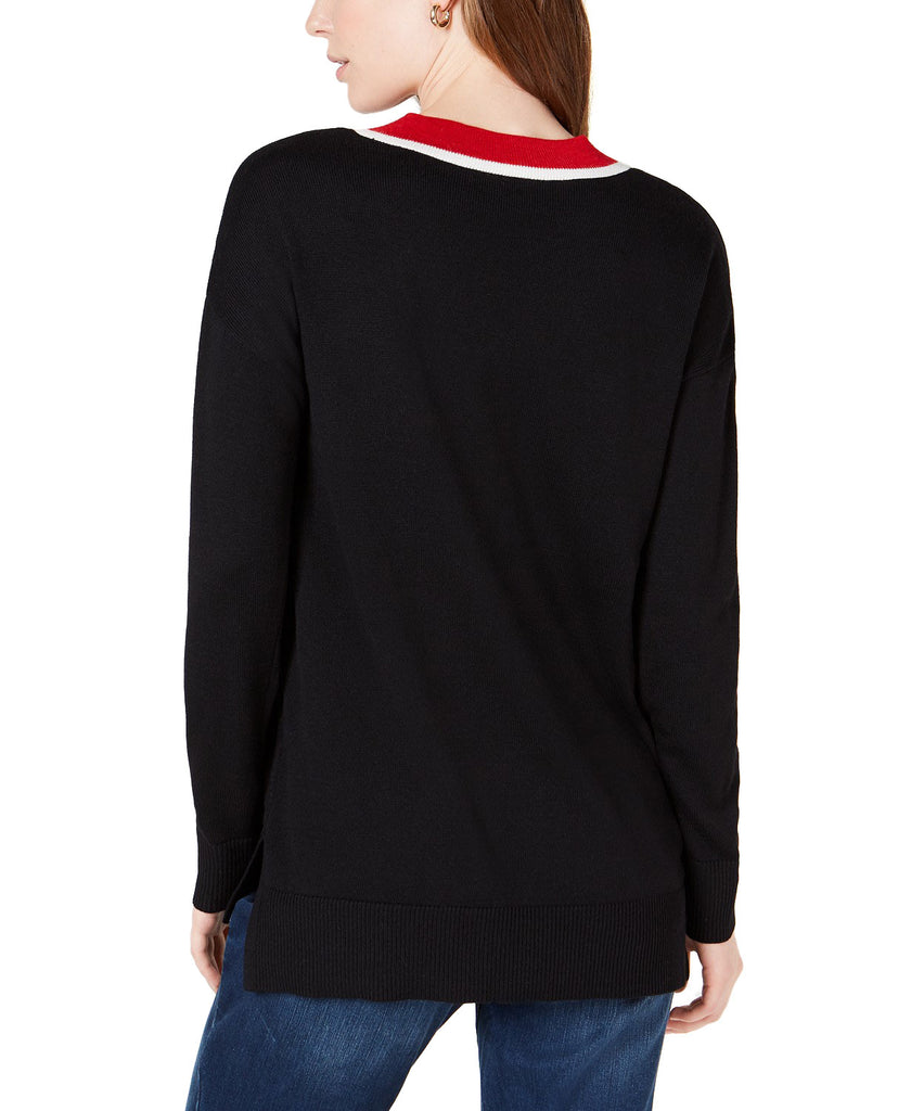 Yieldings Discount Clothing Store's V-Neck Pullover Sweater Black by Maison Jules in Black Combo