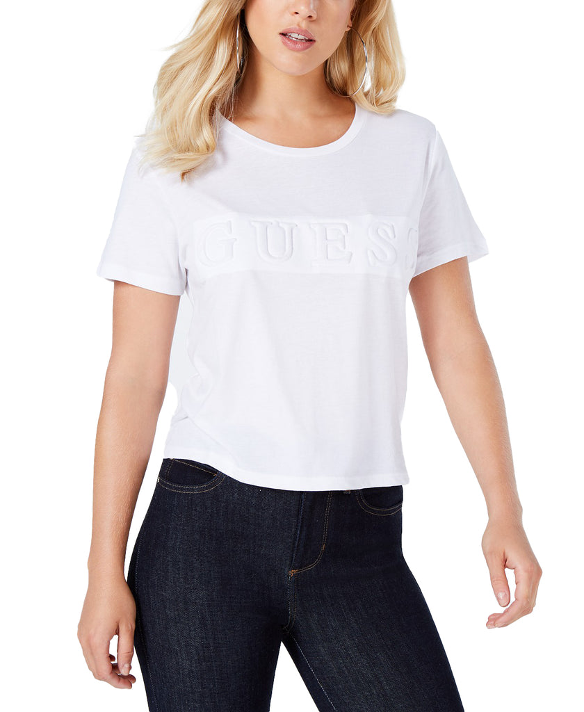 Yieldings Discount Clothing Store's Guess Cropped Logo Top by Guess in Pure White