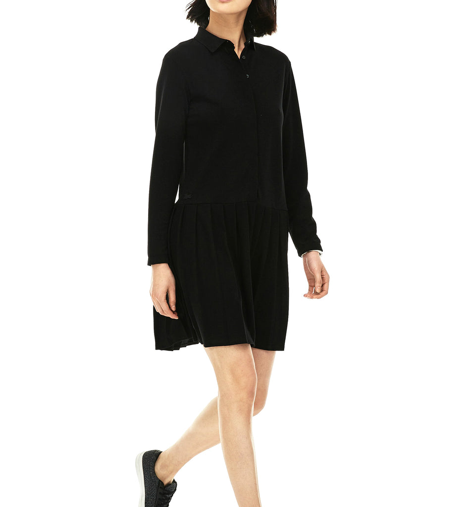 Yieldings Discount Clothing Store's Petit Piqué Polo Dress With Pleated Skirt by Lacoste in Black