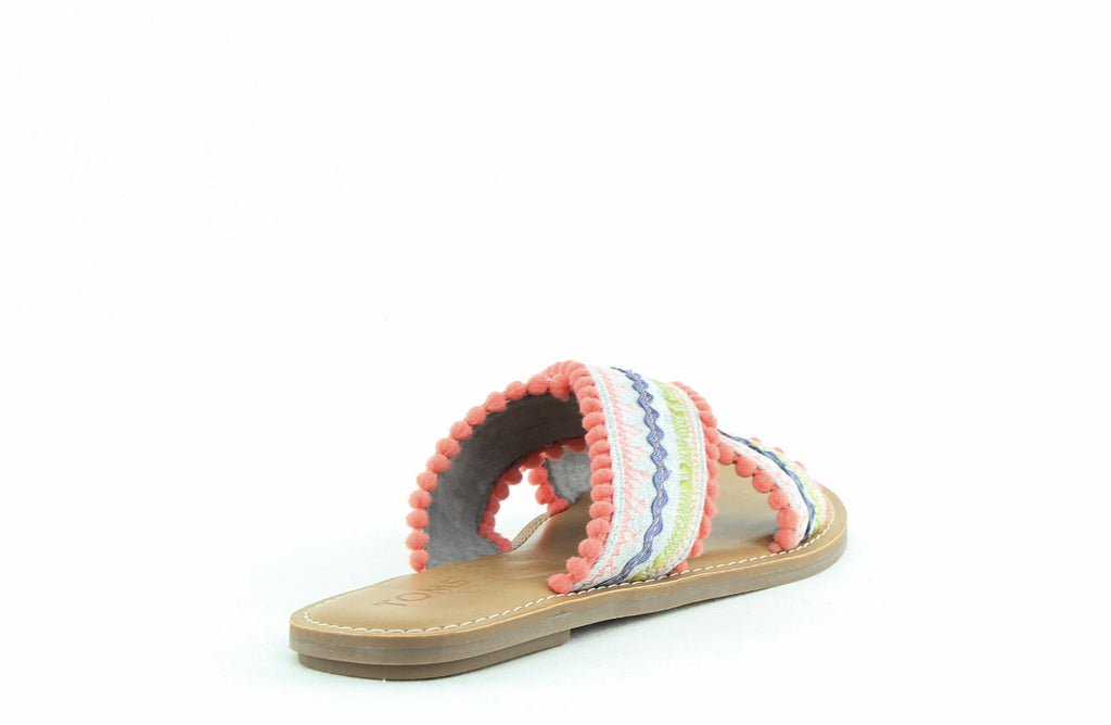 Yieldings Discount Shoes Store's Viv Slide Sandals by Toms in Multi Drizzle Chambray Fringe